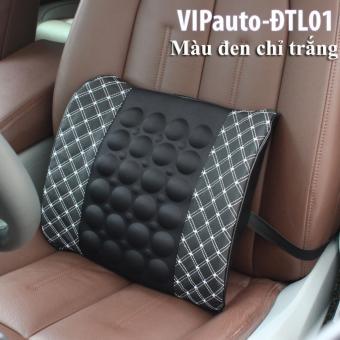 Đệm tựa lưng massage trên ghế ô tô VIPauto-ĐTL01 - Đen chỉ trắng