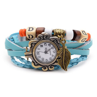 Đồng hồ nữ dây giả da Vintage (Xanh da trời)