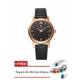 Đồng hồ nữ dây da tổng hợp OSHRZO PKHROEM001-5 (đen mặt đen) + Tặng 1 jack chống bụi cho điện thoại