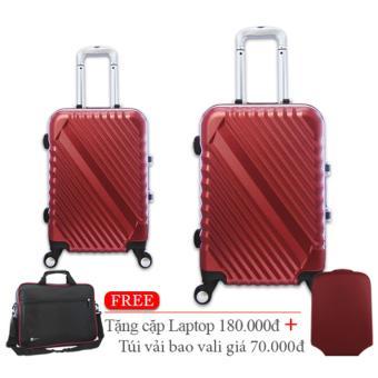 Bộ vali nhựa cứng khung nhôm đựng 7Kg và 20Kg hồng sen TA285