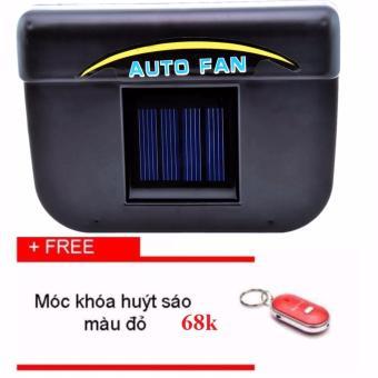 Quạt thông gió ô tô năng lượng mặt trời Auto Fan (Đen)+ Tặng móc khóa huýt sáo