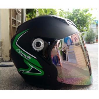 Mũ Bảo Hiểm Moto Napoli Tem chuẩn CR ( Viền Xanh lá)