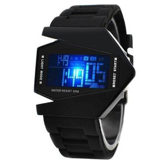 Đồng hồ Led nam dây nhựa phi thuyền 7 màu P-GE022