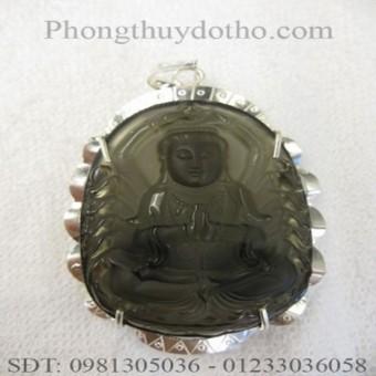Mặt dây chuyền - Phật bản mệnh quan âm nghìn tay đá thạch anh khói 7,9x 5,1 cm bọc bạc số 03