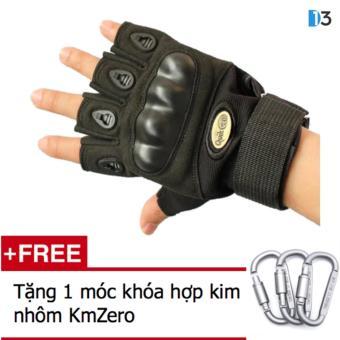 Găng tay nửa ngón QuickCell Biker - Màu đen - Size L + Tặng 1 móc khóa hợp kim nhôm KmZero