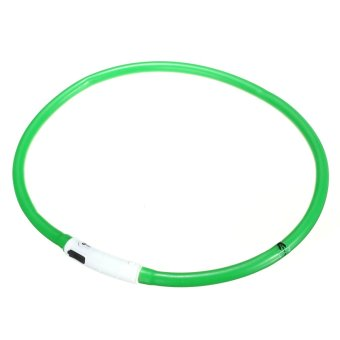 Waterproof Rechargeable LED Flashing Light Dog Loop Collar (Green) - intl