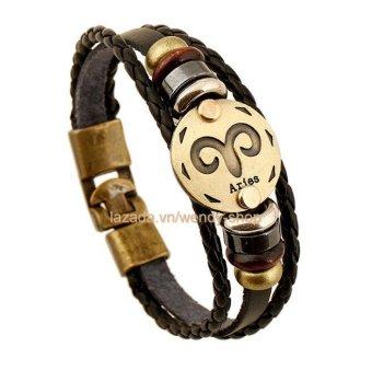 Vòng đeo tay Nam hình 12 chòm sao hoàng đạo cung Aries - Bạch Dương - VĐT08