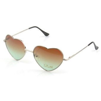Vococal Retro Vintage Heart Shaped Sunglasses (Dark Brown)