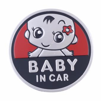 Logo Baby In Car dán xe ôtô (đỏ-tròn 7cm)