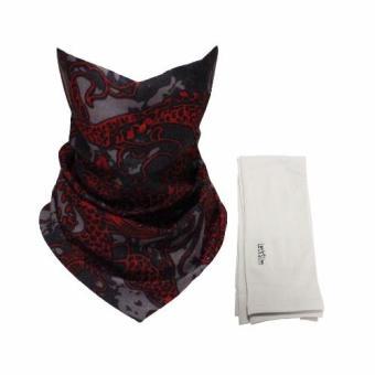 Bộ khăn đa năng và găng tay xỏ ngón Lets Slim Aqua X chống nắng UV đi phượt (Đỏ phối Xám)