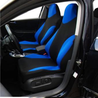 Bộ 2 áo trùm bao ghế xe ô tô, xe hơi kiểu thể thao chống nóng Racing (Xanh)