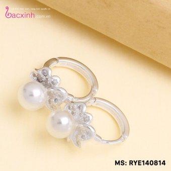Bông tai nữ trang sức bạc Ý S925 Bạc Xinh - Bông tai ngọc trai hoa đẹp RYE140814