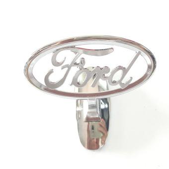 Logo kim loại dán đầu xe ô tô Ford (trắng bạc)