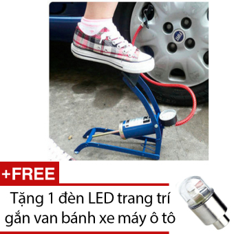 Bơm hơi đạp chân xe đạp xe máy 0TI67 (xanh) + Tặng 1 đèn LED trang trí gắn van bánh xe máy ô tô