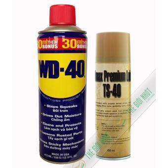 Combo chai xịt chống rỉ TS-40 450ml và chai bôi trơn, bảo dưỡng WD-40 412ml