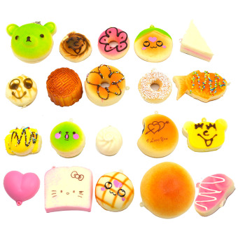 20 Pcs Kawaii Mini Squishy Soft Simulated Food Panda Bread Cake Buns Pendants Key Rings Keychains Phone Chain Straps Ornaments Accessories Random Style - intl