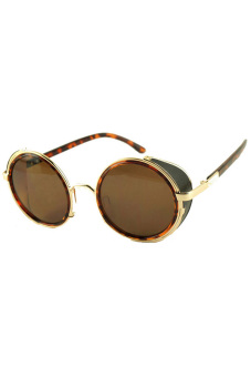 Fancyqube Steampunk Metal MenS WomenS Retro Circle Sunglasses Color 03 Leopard