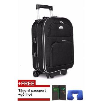 Vali du lịch xoay 2 chiều nhỏ BI&TI (Đen) + tặng kèm ví passport và gối hơi trị giá 150.000đ