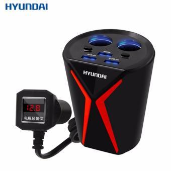 Bộ chia tẩu sạc xe hơi cao cấp hàng hiệu Hyundai 2 nguồn và 3 cổng USB