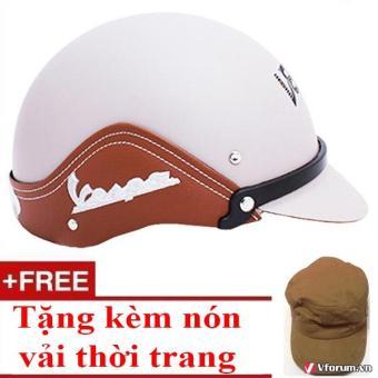 Mũ bảo hiểm thời trang ốp da + tặng 1 Nón vải thời trang cao cấp (Kem)