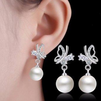 Khuyên tai nữ bạc bướm đá ngọc trai Hàn Quốc SPE-ED29411