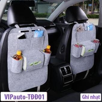 Túi đựng đồ ghế sau 7 ngăn tiện ích trên xe ô tô PHauto-TĐĐ01 (Ghi nhạt)