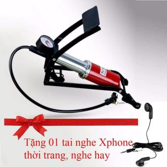 Bơm hơi đạp chân Cao cấp chuyên dụng cho Xe máy (Tặng tai nghe Xphone thời trang, nghe hay)