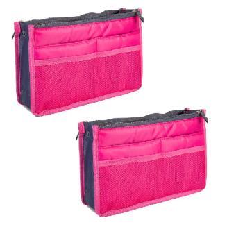 Combo 2 Túi vải dù 13 ngăn đựng đồ cá nhân ( hồng đậm)