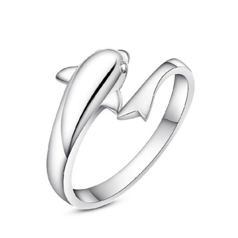 Fancyqube 925 Sterling Silver Dolphin Opening Adjustable Ring (Sliver)