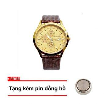 Đồng hồ nam dây da Baishuns BS93 (Vàng phối đen) + Tặng kem pin đồng hồ