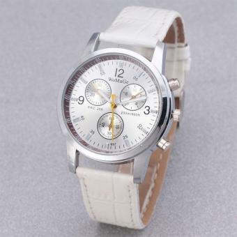 Đồng hồ nam dây da thời trang Womage 8324 (Dây trắng mặt trắng)