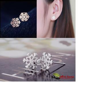 Bông tai (Khuyên tai) hình bông tuyết bạc S925 cao cấp phong cách Châu Âu (BT01)