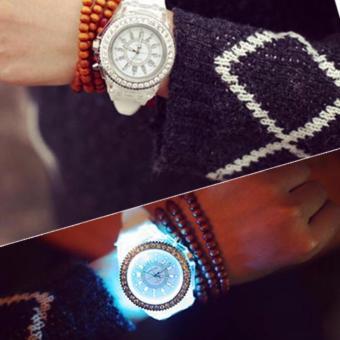 Đồng hồ cặp dây cao su mặt tròn phát sáng