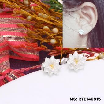 Bông tai nữ trang sức bạc Ý S925 Bạc Xinh - Hoa sen trắng đẹp RYE140815
