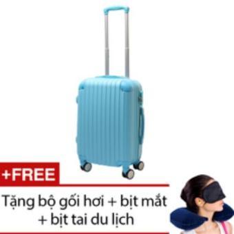 Vali nhựa cứng SAM 24 inch (Xanh) + Tặng bộ 1 gối hơi + 1 bịt mắt + 1 cặp bịt tai du lịch