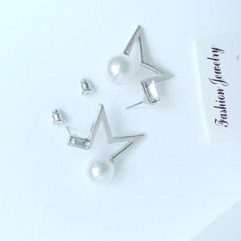 Bông tai nửa ngôi sao rỗng sáng tạo màu bạc