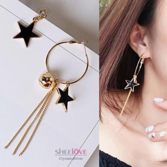 Bông tai nữ dáng dài ngôi sao năm cánh sole tua rua HKE-1605252(Vàng)