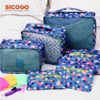 Bộ 6 túi chia hành lý du lịch (Xanh hoa)
