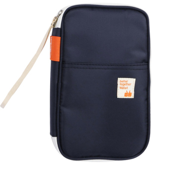 Multi-functional Portable Waterproof Nylon Travel Passport Ticket Card Cash Storage Pouch Holder Bag Wallet Organizer Case Dark Blue