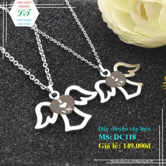 Dây chuyền Inox cặp thiên sứ tình yêu DC118 (Trắng)