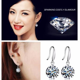 Bông tai móc hạt hình kim cương thời trang hàn quốc 2017