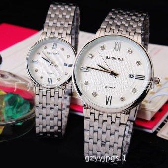 Đồng hồ ĐÔI dây inox cao cấp BAISHUNS DBA98