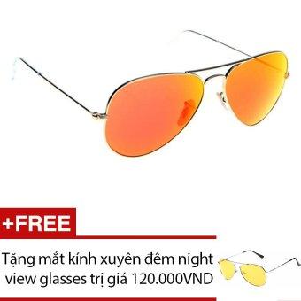 Mắt kính tráng gương phản quang thời trang nam nữ (Vàng đồng) + Tặng mắt kính xuyên đêm night view glasses