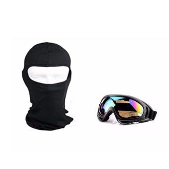 Mắt Kính Đi Phượt Chống Bụi và Tia UV kèm Mũ trùm đầu ninja hở mắt đa năng đi phượt (Đen)