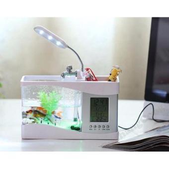 Bể cá trang trí mini phong thủy 3in1 có hộp đựng bút, đồng hồ để bàn chạy bằng pin có cổng sạc USB