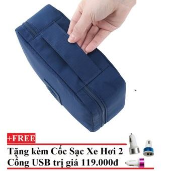 Túi du lịch đựng đồ cá nhân dành cho Nam- chodeal24h.vn (Xanh đậm) + Tặng Cốc sạc xe hơi 2 cổng USB