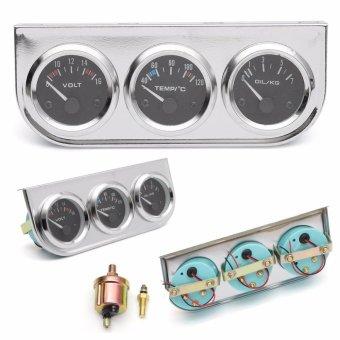 SKU290903 Universal 2''/52mm Chrome Bezel Voltmeter + Water Thermometer + Oil Pressure Electrical Gauge - intl