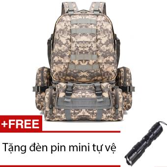 Ba lô du lịch lính siêu lớn seonhi LCB – ACU + Tặng 1 đèn pin mini (Đen)