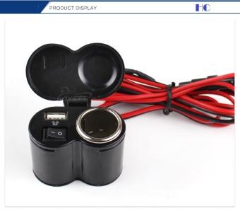 Bộ 1 sạc USB 5v 2A và 1 cổng sạc xe hơi cho xe máy (có công tắc)