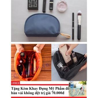Combo 2 Túi đựng đồ cá nhân nhỏ gọn (cam + xanh rêu )+ Tặng kèm khay đựng mỹ phẩm để bàn